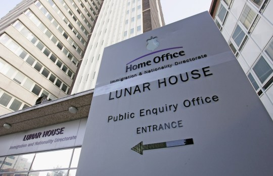 LONDON - OCTOBER 04: A sign sits outside of Lunar House, the headquarters of Britain's Immigration and Nationality Directorate on October 4, 2006 in Croydon, England. The IND is a part of the Home Office and is an immigration processing centre. (Photo by Scott Barbour/Getty Images)