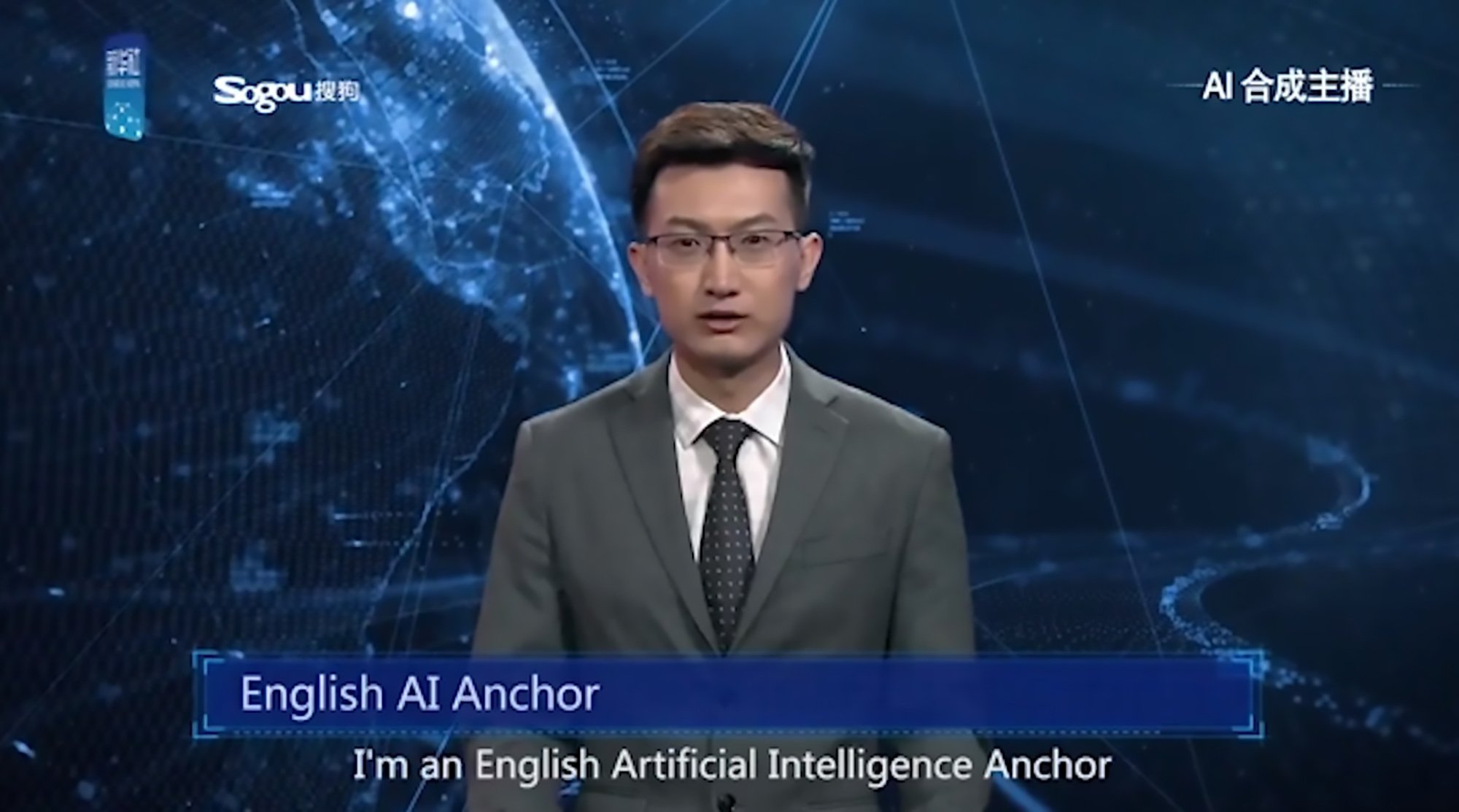 """Pic Shows: The English AI Anchor whose voice and appearance were modeled after Zhang Zhao, a real anchor from Xinhua; This is the world???s first Artificial Intelligence anchor reading the news in English on the state-owned Xinhua network in China. The unnamed presenter is based on real-life Xinhua news anchor Zhang Zhao and uses the latest in Artificial Intelligence (AI) technology to carry out the role. The ???man??? made his debut at the 2018 World Internet Conference taking place in the city of Wuzhen located in the eastern Chinese province of Zhejiang. According to reports, the AI anchor """"learns"""" from watching videos of broadcasters and can read out the news as """"naturally"""" as a real-life TV presenter. He was developed by the Xinhua News Agency, China???s official state-run network, and the public search engine developer Sogou. Meanwhile, Xinhua claims that the AI presenter has become a fully-fledged member of its news team and is available to work 24 hours a day. The network plans on using the AI anchor on its official website and associated social network accounts. The company even said that the artificial presenter will reduce news production costs and improve efficiency. In the video clip, the presenter says: """"Hello everyone, I am an English Artificial Intelligence Anchor. This is my very first day in Xinhua News Agency. """"My voice and appearance are modelled on Zhang Zhao, a real anchor with Xinhua."""" He then goes on to explain that rolling news stories can be """"fed"""" to him as they develop in real time, whatever the hour."""