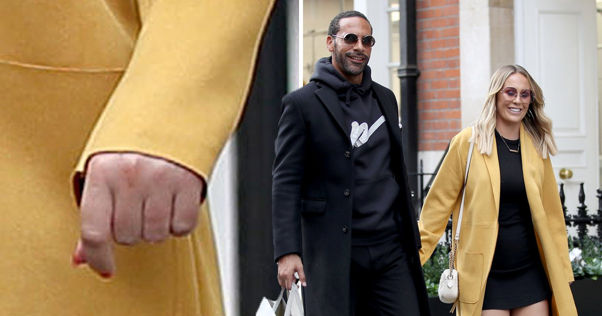 EMB 12.45 09/11 Rio Ferdinand and his fiance Kate Wright pictured leaving Scott's in Mayfair - SHE ISN'T WEARING A RING Credit: MEGA