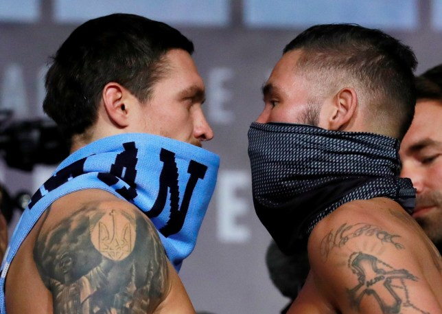 Boxing - Oleksandr Usyk & Tony Bellew Weigh-In - Manchester Central, Manchester, Britain - November 9, 2018 Tony Bellew and Oleksandr Usyk go head to head during the weigh-in Action Images via Reuters/Andrew Couldridge