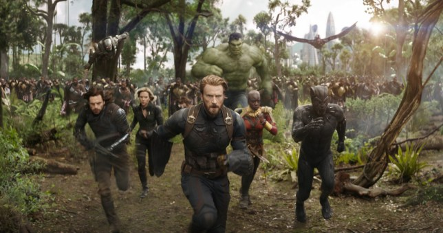 L to R: War Machine (Don Cheadle), Winter Soldier/Bucky Barnes (Sebastian Stan), Black Widow/Natasha Romanoff (Scarlet Johansson), Captain America/Steve Rogers (Chris Evans), Hulk (Mark Ruffalo), Okoye (Danai Gurira), Falcon (Anthony Mackie) and Black Panther/T'Challa (Chadwick Boseman)