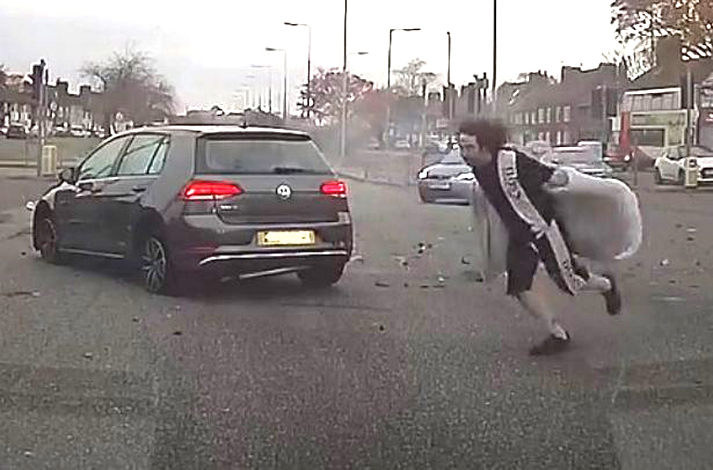 Man in robe flees car crash in East Prescot Road, Liverpool. Friday Nov 9 2018 Credit: Liverpool Echo PAYMENT AT YOUR NORMAL RATE TO REACH PUBLISHING SERVICES LIMITED FAO - ACCOUNTS RECEIVABLE PO BOX 2003 39 OLD HALL STREET LIVERPOOL L69 3FR