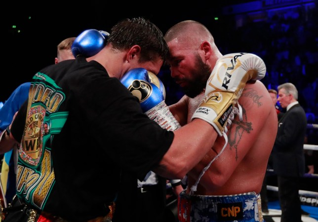Boxing - Oleksandr Usyk v Tony Bellew - WBC, IBF, WBA & WBO World Cruiserweight Titles - Manchester Arena, Manchester, Britain - November 10, 2018 Oleksandr Usyk with Tony Bellew after Usyk won the fight Action Images via Reuters/Andrew Couldridge