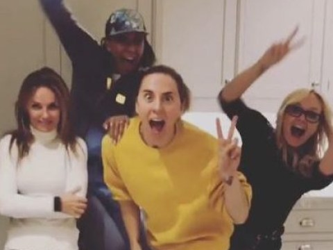 Spice Girls jump for joy in Geri Horner's kitchen as they celebrate sell-out tour