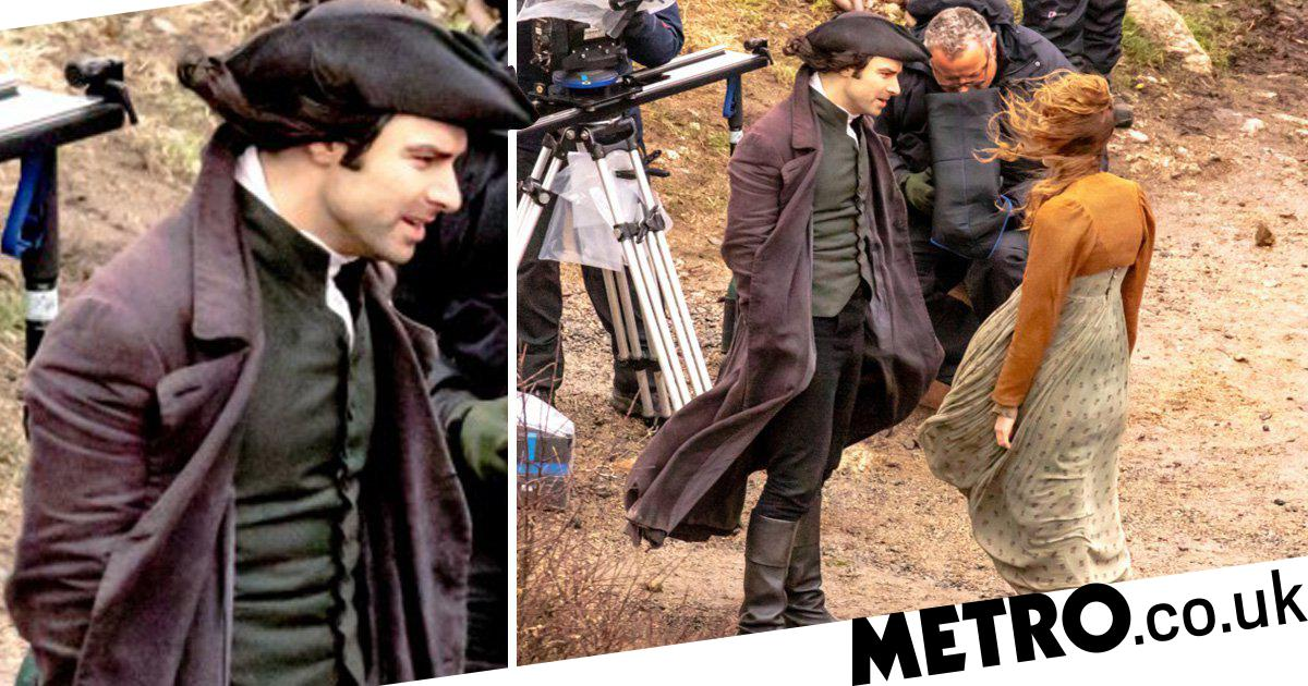 Poldark series 5: Aidan Turner gets caught in the wind during stand