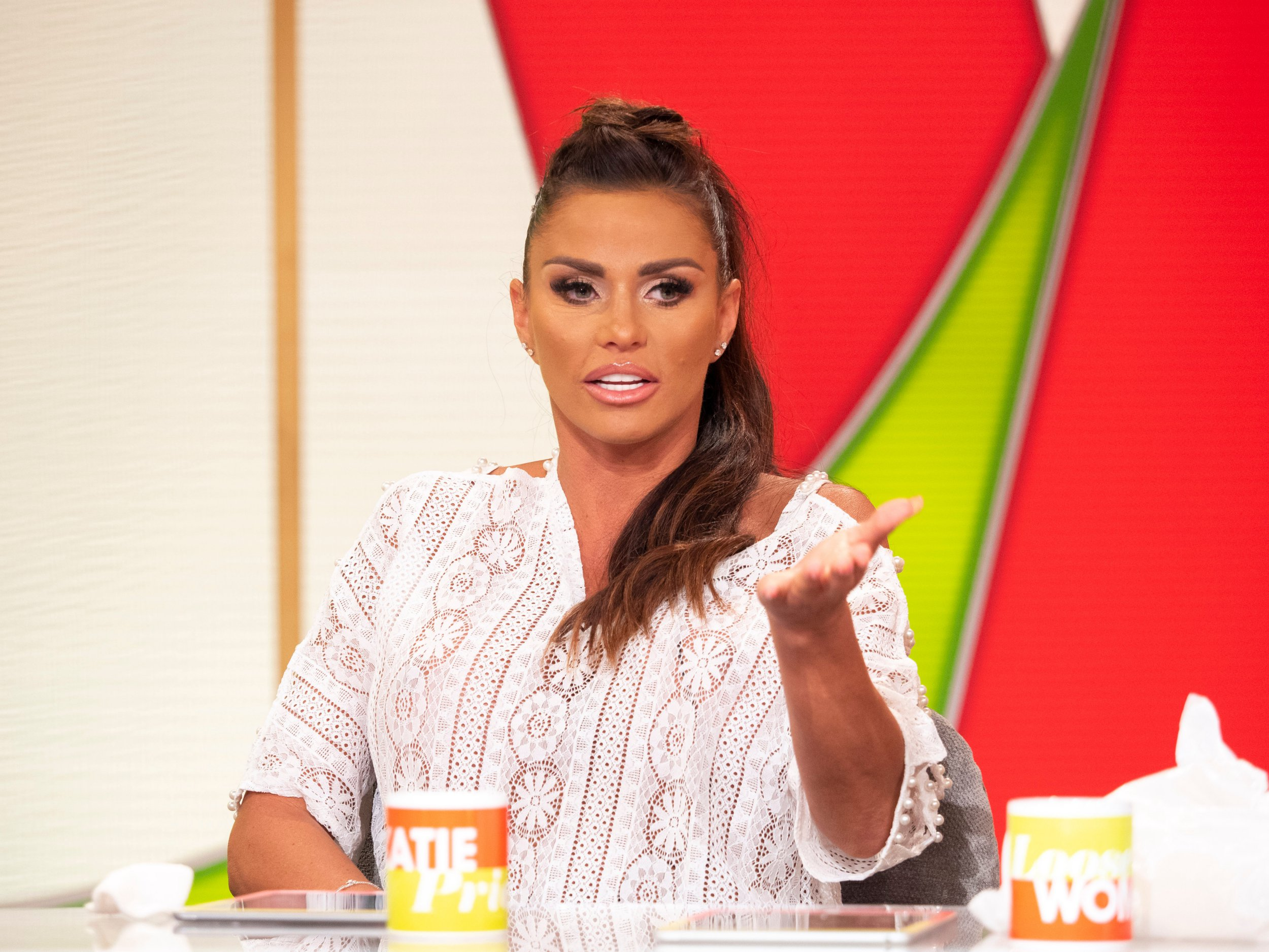 Editorial use only Mandatory Credit: Photo by Ken McKay/ITV/REX/Shutterstock (9766456di) Katie Price 'Loose Women' TV show, London, UK - 20 Jul 2018
