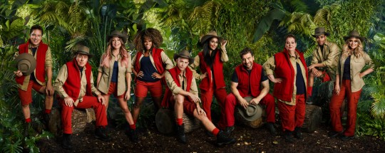 This image is strictly embargoed until 22.30 Monday 12th November 2018 From ITV Studios I'm A Celebrity... Get Me Out Of Here!: SR18 on ITV Pictured: John Barrowman MBE, Harry Redknapp, Rita Simons, Fleur East, James McVey, Sair Khan, Nick Knowles, Anne Hegerty, Malique Thompson-Dwyer and Emily Atack. This photograph is (C) ITV Plc and can only be reproduced for editorial purposes directly in connection with the programme or event mentioned above, or ITV plc. Once made available by ITV plc Picture Desk, this photograph can be reproduced once only up until the transmission [TX] date and no reproduction fee will be charged. Any subsequent usage may incur a fee. This photograph must not be manipulated [excluding basic cropping] in a manner which alters the visual appearance of the person photographed deemed detrimental or inappropriate by ITV plc Picture Desk. This photograph must not be syndicated to any other company, publication or website, or permanently archived, without the express written permission of ITV Picture Desk. Full Terms and conditions are available on the website www.itv.com/presscentre/itvpictures/terms For further information please contact: james.hilder@itv.com / 0207 157 3052