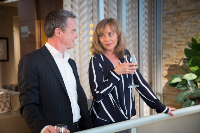 **EMBARGO 19th NOVEMBER 2018** NEIGHBOURS 7981 08 - Jane Harris (Annie Jones) & Paul (Stefan Dennis) pick up where they left off.