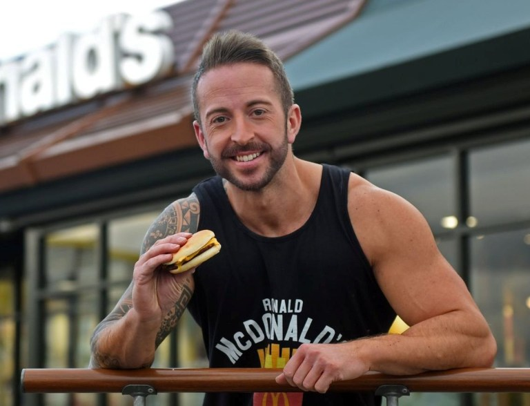 Postman Ryan Williams who ate nothing but McDonald's for a month - and lost weight. See SWNS story SWBRburger; A postman ate nothing but McDonald's food for 30 days - and LOST weight. Ryan Williams, 29, launched his fast food mission to try and disprove Morgan Spurlock's famous 'Super Size Me' challenge. Spurlock's 2004 American documentary saw the director also eat nothing but McDonald's for 30 days - and gained almost two stone. But Ryan, from Cheltenham, Glos., felt that Super Size Me presented a skewed version of the challenge. He and wanted to prove it is possible to get in shape in 30 days on a McDonald's-only diet. Ryan spent between ?15-?20 each day for a month on McDonald's, and made sure to eat everything on their menu at least once, as Spurlock did 14 years ago.