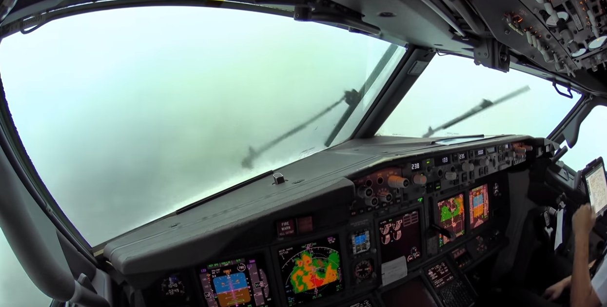 Pilots safely land plane in thunderstorm in scary video from the cockpit
