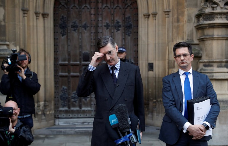 British Member of Parliament, Jacob Rees-Mogg, makes a statement from St Stephen's Entrance at the Houses of Parliament, in London, Britain November 15, 2018. REUTERS/Peter Nicholls