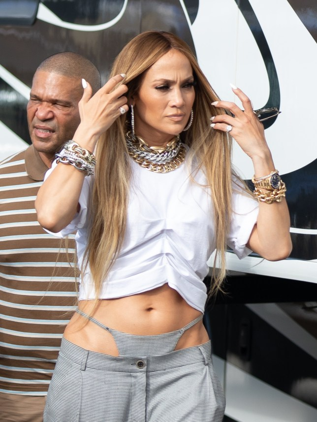 Jennifer Lopez wearing a bizarre sewn on underwear pant look as she arrives to shoot a video with DJ Khaled. The panties appeared to match the material of her low slung grey pants. Pictured: Jennifer Lopez Ref: SPL5042281 151118 NON-EXCLUSIVE Picture by: SplashNews.com Splash News and Pictures Los Angeles: 310-821-2666 New York: 212-619-2666 London: 0207 644 7656 Milan: 02 4399 8577 photodesk@splashnews.com World Rights,