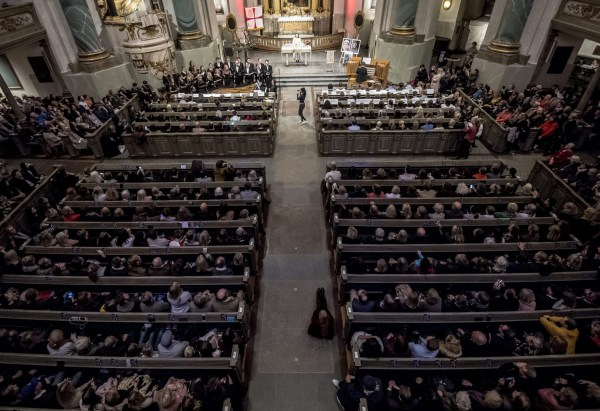 Mandatory Credit: Photo by IBL/REX (9982560o) People take part in a memorial service for the late DJ Avicii aka Tim Bergling at the Hedvig Eleonora church in Stockholm. Avicii Memorial Service, Stockholm, Sweden - 16 Nov 2018