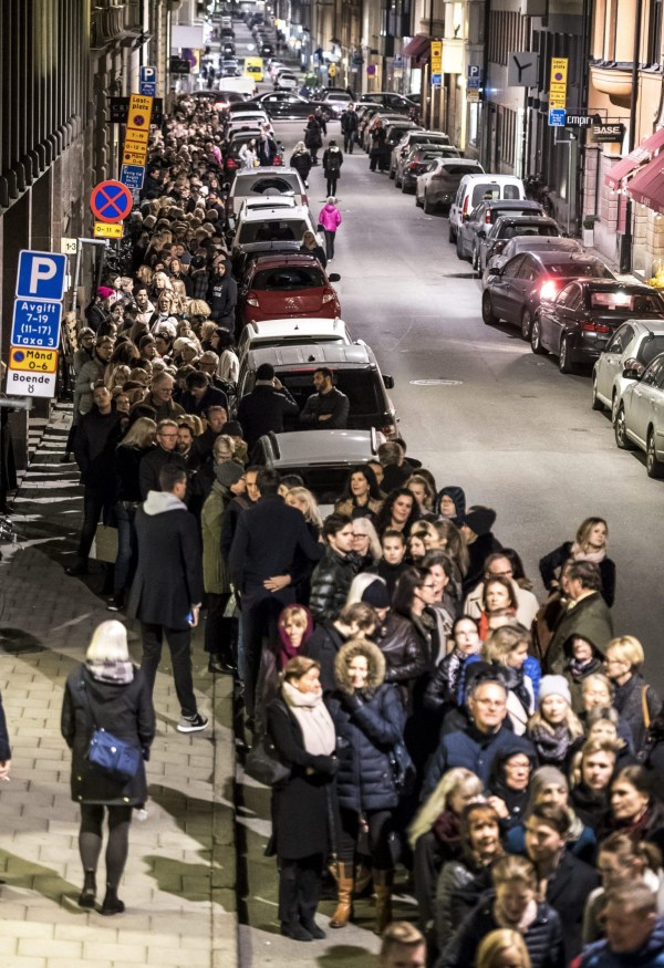 Mandatory Credit: Photo by IBL/REX (9982560e) People arrive for a memorial service for the late DJ Avicii aka Tim Bergling at the Hedvig Eleonora church in Stockholm. Avicii Memorial Service, Stockholm, Sweden - 16 Nov 2018