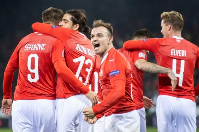 Switzerland's Xherdan Shaqiri celebrates during the UEFA Nations League soccer match between Switzerland and Belgium at the swissporarena stadium in Lucerne, Switzerland, on Sunday, Nov. 18, 2018. (Ennio Leanza/Keystone via AP)