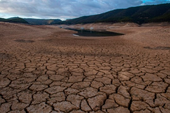 A picture shows low water levels at a reservoir in drought-stricken Entrepenas near Sacedon on November 24, 2017. - Spain and Portugal are grappling with a devastating drought which has left rivers nearly dry, sparked deadly wildfires and devastated crops -- and experts warn that prolonged dry spells will become more frequent. (Photo by PIERRE-PHILIPPE MARCOU / AFP) (Photo credit should read PIERRE-PHILIPPE MARCOU/AFP/Getty Images)