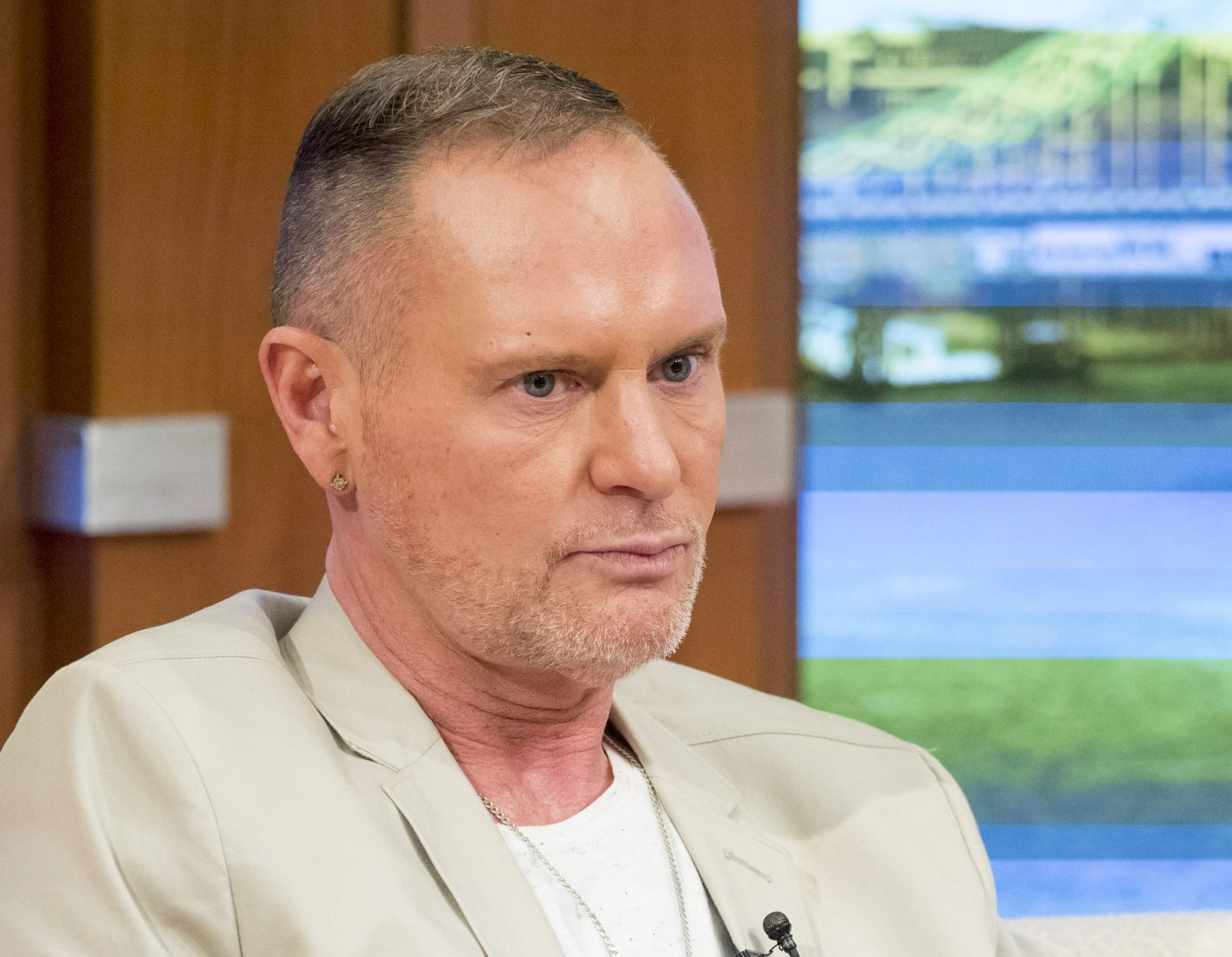 """Editorial use only Mandatory Credit: Photo by Ken McKay/ITV/REX/Shutterstock (5657855d) Paul Gascoigne 'Good Morning Britain' TV show, London, Britain - 20 Apr 2016 """"Not perfect but trying his best""""...Paul Gascoigne has described his recent alcohol relapse as """"one blip"""" in an 11-month period., Recent photos released by his management company show him looking happy and healthy - we speak to him live on the sofa."""