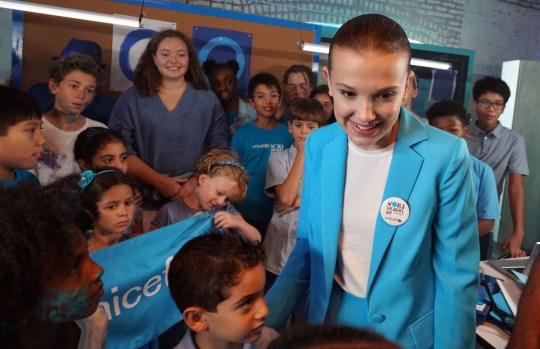 UNICEF undated handout photo of actor Millie Bobby Brown on the set of a video produced for World Children's Day 2018 in New York City. The Stranger Things star has been announced as UNICEF's newest Goodwill Ambassador. PRESS ASSOCIATION Photo. Issue date: Tuesday November 20, 2018. See PA story SHOWBIZ Brown. Photo credit should read: Giles Clarke/UNICEF/PA Wire NOTE TO EDITORS: This handout photo may only be used in for editorial reporting purposes for the contemporaneous illustration of events, things or the people in the image or facts mentioned in the caption. Reuse of the picture may require further permission from the copyright holder.