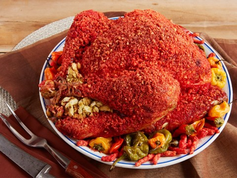 As further proof we are in hell, have a look at these abominable Hot Cheeto covered Thanksgiving turkeys