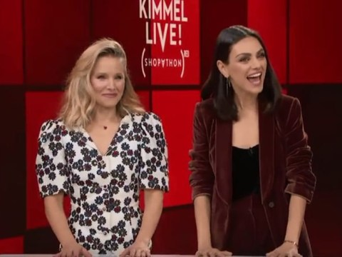 Kristen Bell and Mila Kunis beg Channing Tatum to strip for charity in hilarious Jimmy Kimmel segment