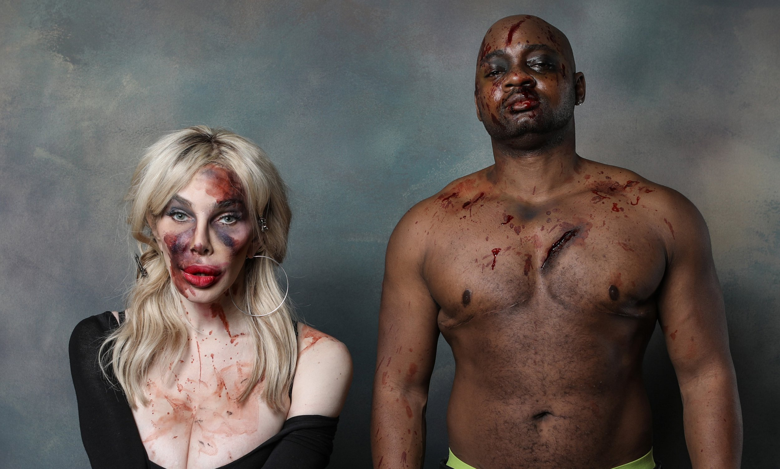 PICS BY THOMAS EVANS / CATERS NEWS - (PICTURED: He photographed celebrity models Dina Delicious and Brian Michael Smith as part of the shoot in Central Connecticut State University, USA) - Trans models have been photographed beaten up and dressed in gender norms as part of a trans awareness week. Thomas Evans hopes to depict the abuse transgender people face and their accepted societal norms in his daring images. He photographed celebrity models Dina Delicious and Brian Michael Smith as part of the shoot in Central Connecticut State University, USA. - SEE CATERS COPY