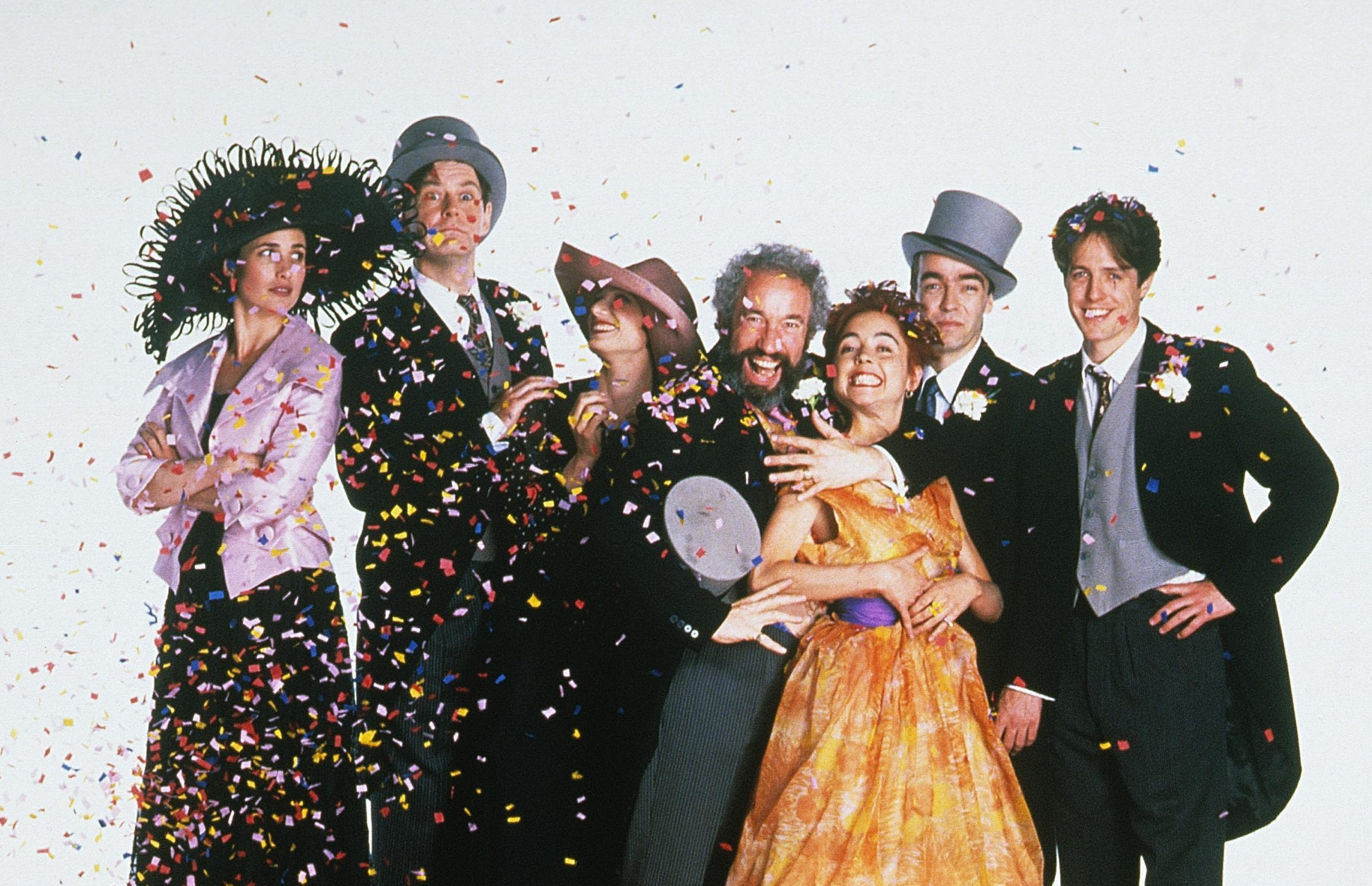 the original cast of four weddings and a funeral, including hugh grand and andie macdowell