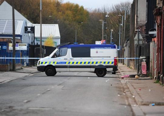 Scene of a shooting at Kingston Mill , Cobden St , Salford , United Kingdom . 25 November 2018