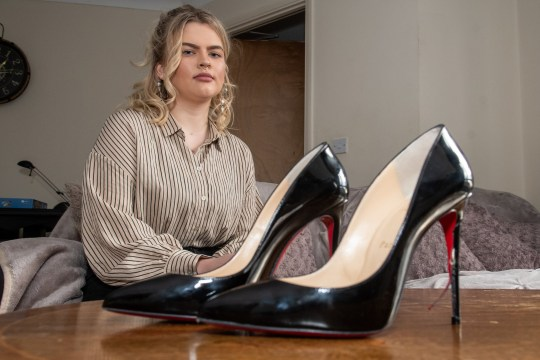 A student was left in tears after her ?500 Christian Louboutin heels were 'destroyed' on a shopping centre escalator. Karolina Swiercz, 20, spent a month's wages on the designer heels and donned them to a black tie event at Alto Bar in Nottingham last Wednesday [November 21]. Caption: Karolina Swiercz, pictured with her Christian Louboutin high heels, which were damaged after getting caught in an escalator at The Cornerhouse in Nottingham on November 21, 2018