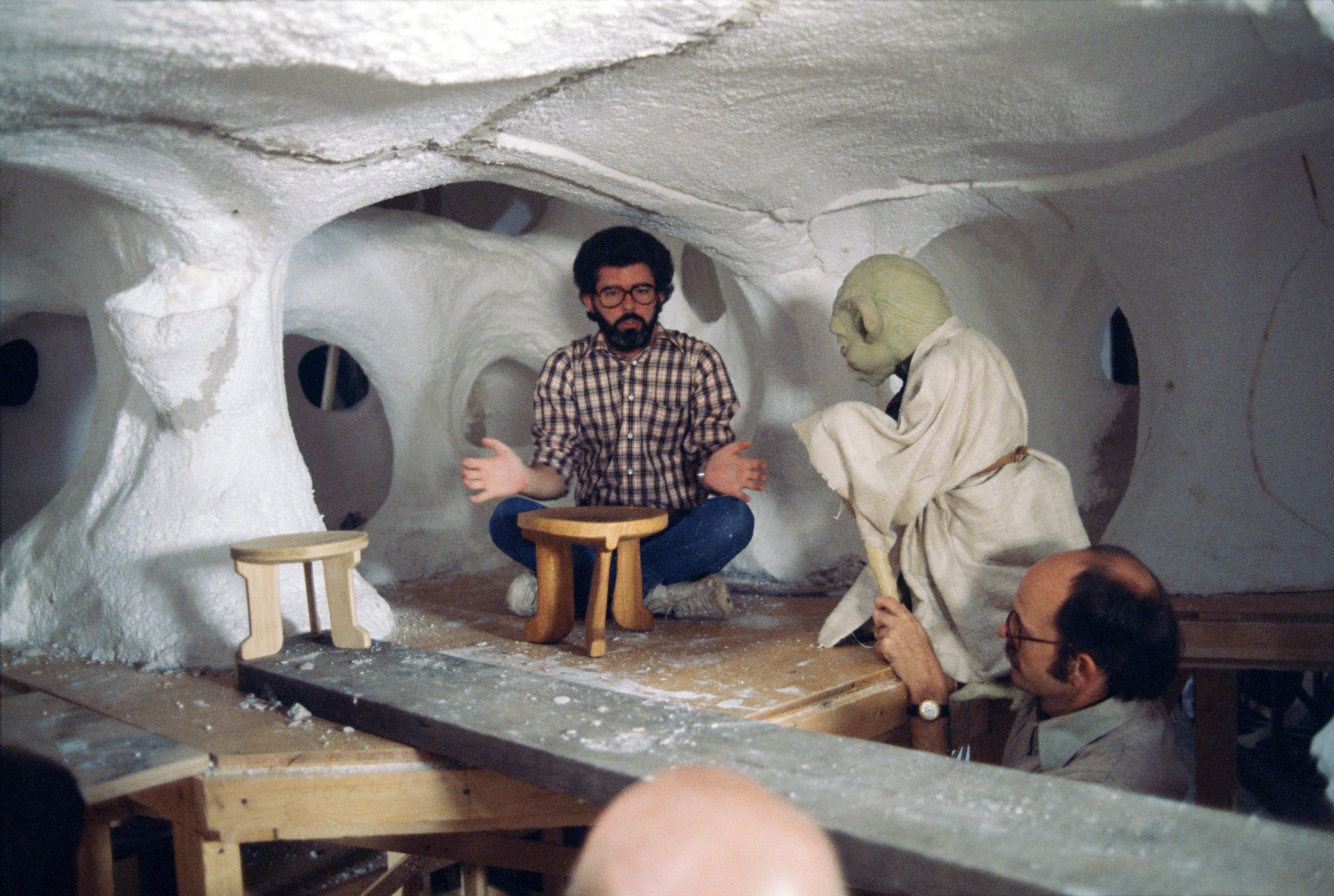 Rare Star Wars set pictures show George Lucas conversing with Yoda and The Battle of Hoth on tabletops