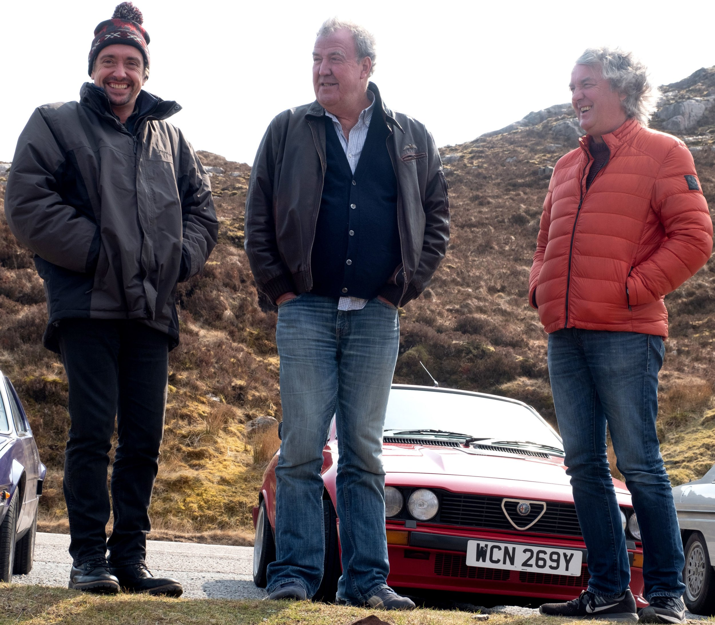 Undated handout photo issued by Amazon Prime of (left to right) Richard Hammond, Jeremy Clarkson and James May in Scotland, during filming the third series of The Grand Tour, which returns in January 2019. PRESS ASSOCIATION Photo. Issue date: Tuesday November 27, 2018. See PA story SHOWBIZ Tour. Photo credit should read: Ellis O'Brien/PA Wire NOTE TO EDITORS: This handout photo may only be used in for editorial reporting purposes for the contemporaneous illustration of events, things or the people in the image or facts mentioned in the caption. Reuse of the picture may require further permission from the copyright holder.