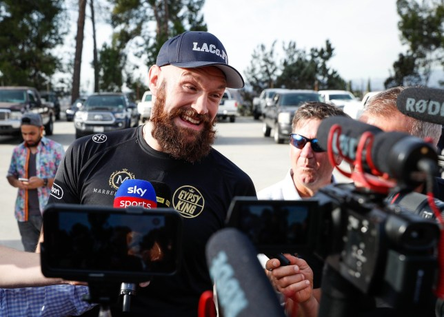 LOS ANGELES, CA - NOVEMBER 27: Tyson Fury meets with firefighters at the Los Angeles County Fire Department Headquarters on November 27, 2018 in Los Angeles, California. (Photo by Meg Oliphant/Getty Images)