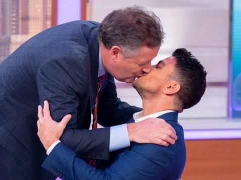 Piers Morgan plants a kiss on Peter Andre after calling David Beckham kissing daughter Harper 'weird'