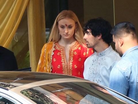 Sophie Turner looks radiant in traditional Indian dress as she prepares for Priyanka Chopra's wedding