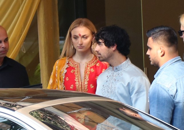 Nick Jonas and Sophie Turner leave a hotel in India dressed in traditional clothing for Nick's brother Joe's wedding to Priyanka Chopra. Pictured: Ref: SPL5045257 281118 NON-EXCLUSIVE Picture by: SplashNews.com Splash News and Pictures Los Angeles: 310-821-2666 New York: 212-619-2666 London: 0207 644 7656 Milan: 02 4399 8577 photodesk@splashnews.com World Rights,