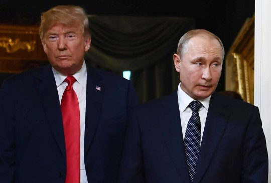 (FILES) In this file photo taken on July 16, 2018 US President Donald Trump (L) and Russian President Vladimir Putin arrive for a meeting in Helsinki. - Donald Trump jets to Argentina on November 29, 2018 for a weekend of G20 summitry riven by new tensions over Ukraine on top of fissures carved open by the US president on trade and climate change. Following Russia's seizure of three Ukrainian ships, Trump threatened to cancel planned talks in Buenos Aires with President Vladimir Putin. But the Kremlin said the meeting was on for November 30, 2018. (Photo by Brendan Smialowski / AFP)BRENDAN SMIALOWSKI/AFP/Getty Images
