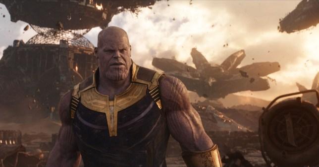 "Editorial use only. No book cover usage. Mandatory Credit: Photo by Marvel/Disney/Kobal/REX/Shutterstock (9641147bf) Thanos (Josh Brolin) ""Marvel's Avengers: Infinity War"" Film - 2018"