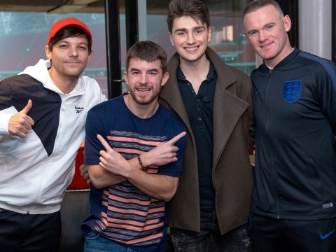 X Factor's Louis Tomlinson and Anthony Russell meet Wayne Rooney