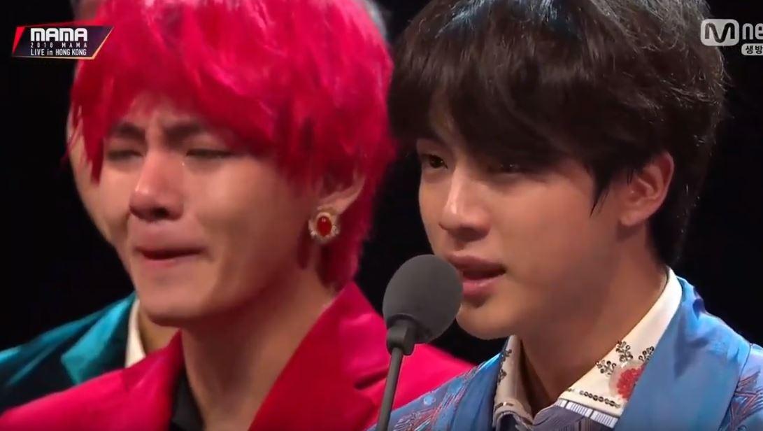 Jin crying