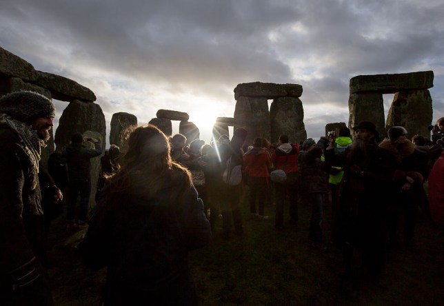 People celebrate winter solstice at Stonehenge