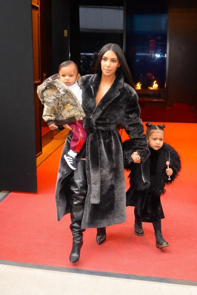 Kim Kardashian with North and Saint west