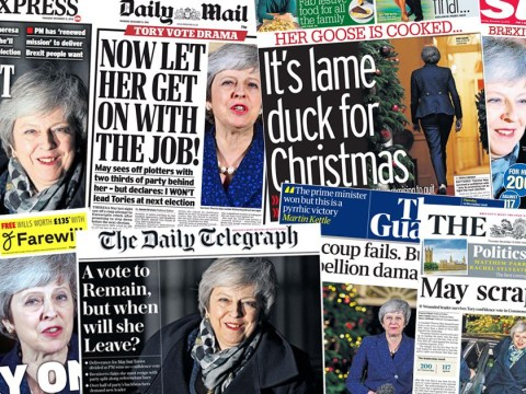 'Wounded and battered': How the papers see Theresa May's confidence vote
