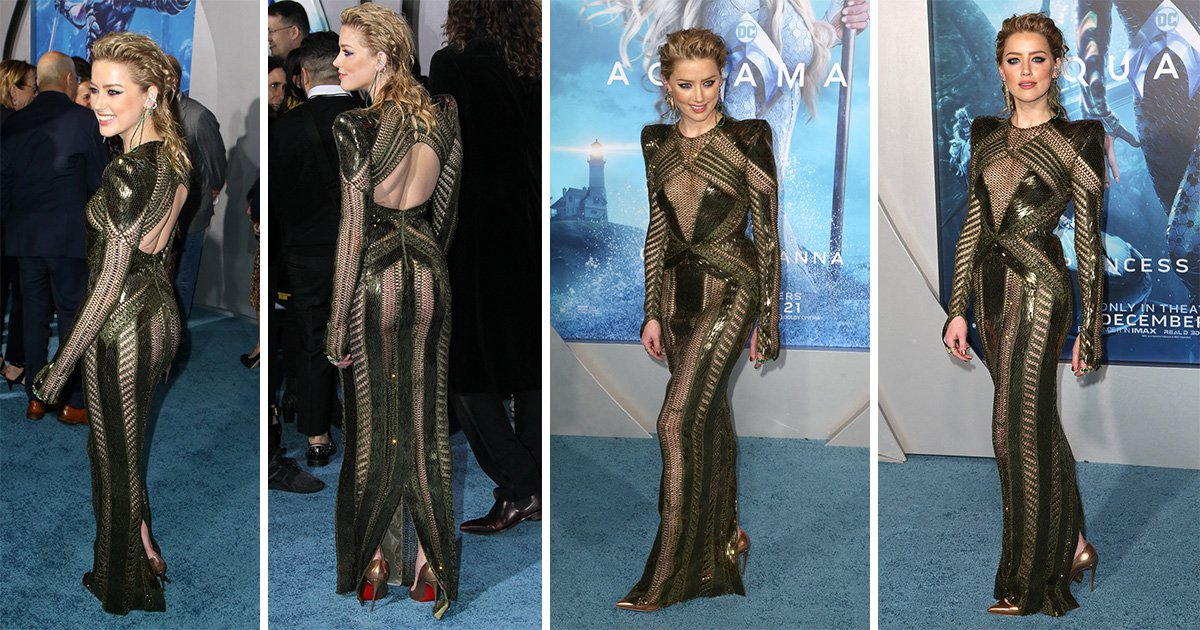 Amber Heard continues to slay on Aquaman promo tour in sheer green gown
