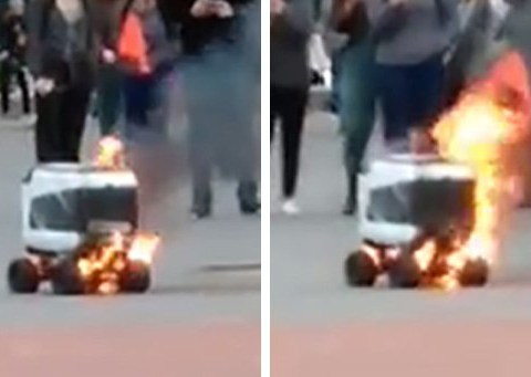 Autonomous delivery robot blows up – receives candlelit vigil