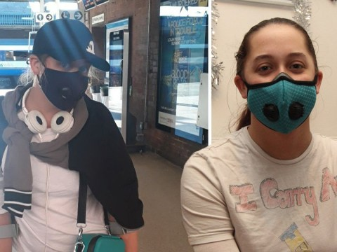 Woman with so many allergies she has to wear gloves and mask when she goes out