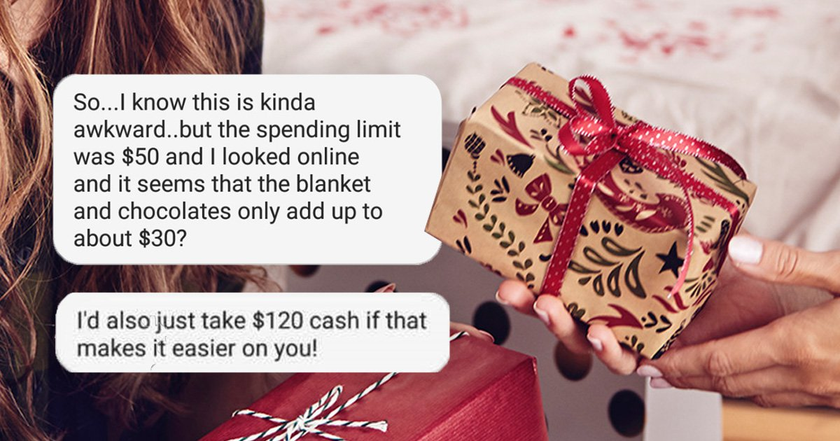 Please enjoy this story of a woman demanding cash because her secret Santa gift was too cheap
