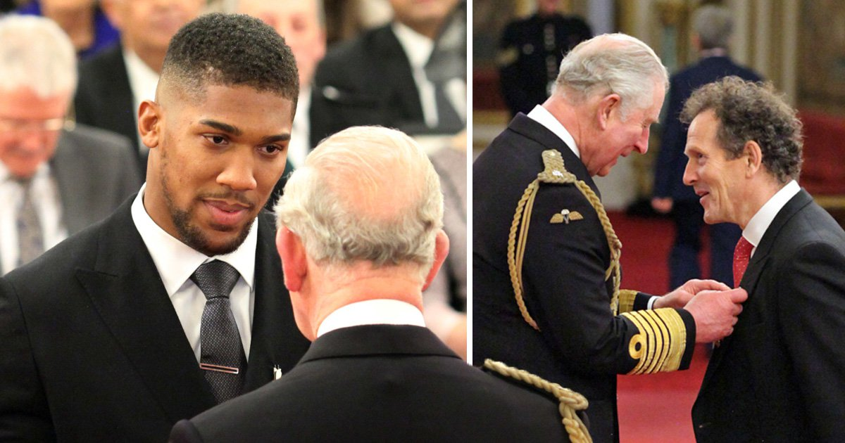 Anthony Joshua is fit for a meeting with Prince Charles as he receives OBE at Buckingham Palace