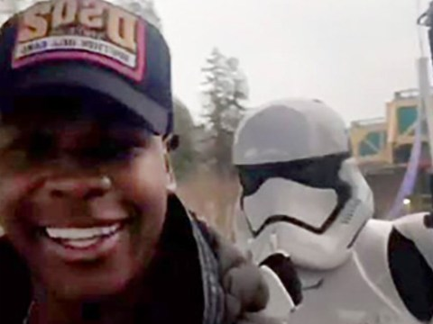 John Boyega 'arrested' by Stormtrooper as he celebrates Christmas in Disneyland