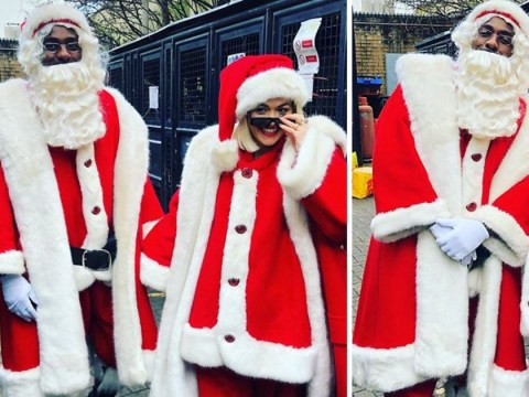 Rita Ora and Idris Elba melt hearts as they dress up as Santa for hospital visit