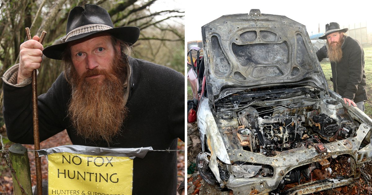 Farmer who found car and shed on fire blames countryside clashes over hunting