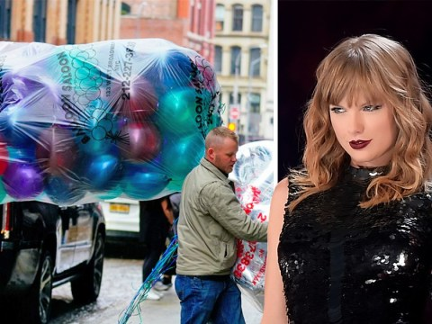 Taylor Swift takes delivery of balloons ahead of New Year's Eve party